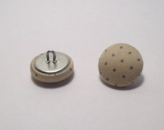6 buttons covered with beige polka dot gray 21mm