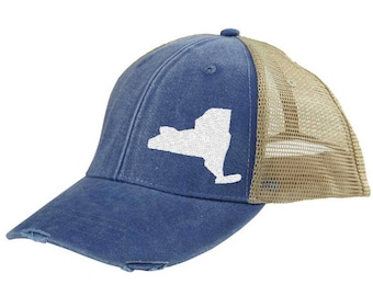 New York Hat - Distressed Snapback Trucker Hat - off-center state pride hat - Pick your colors