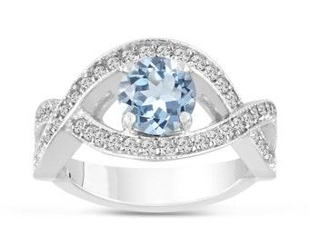 1.42 Carat Aquamarine Engagement Ring, Aquamarine and Diamonds Wedding Ring, Bridal Ring, Cocktail Ring, 14K White Gold Certified Handmade