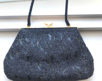 Vintage Dark Gray Fully Beaded Made In Japan Beautiful Evening Bag