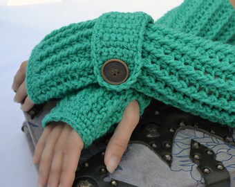 Jadeite arm warmers, fingerless gloves, texting gloves, crochet gloves, boho gloves, hand warmers, mittens, boho fashion, button gloves