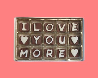 Anniversary Gift for Him Valentines Gift for Her Romantic Funny Cute Boyfriend Gift from Girlfriend I Love You More Cubic Chocolate Letters