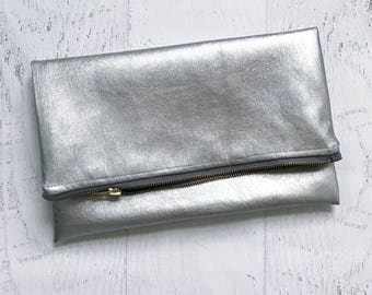 Vegan Metallic Silver Leather Foldover Clutch - Gift for her, Birthday, Anniversary, Bridesmaid