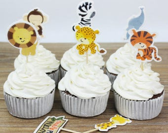 Safari Animals Cupcake, Cake Toppers (12)