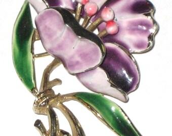 Vintage Weiss flower pin gold metal floral enamel brooch