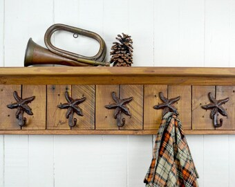 Rustic Wooden Coat Rack - Starfish