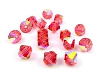 20 x Swarovski® 6 mm PADPARADSCHA AB Crystal bicones