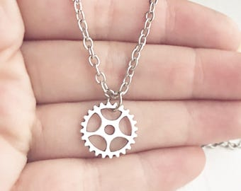 Silver Gear Necklace / Steampunk Costume Women Engineer Gift Bridesmaids Wedding Simple Everyday Jewelry Gear Pendant Charm Necklace Boho