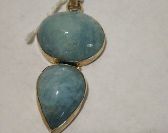 Free Domestic Shipping Larimar baby blue double pendant Sterling silver with free chain