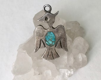 vintage sterling and turquoise thunderbird charm/pendant