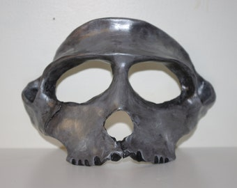 Rhesus Monkey Inspired Tarnished Silver Skull Mask - hand sculpted and hand-painted
