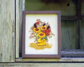 Framed Floral Embroidery, Gold, Browns and Beige, Handmade Vintage Art Piece, Collectible Farmhouse Decor