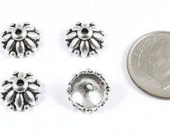 TierraCast Pewter Bead Caps-Antique Silver Dharma 10mm (4)