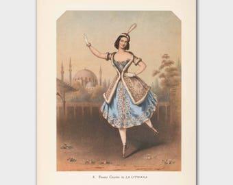 "Ballerina Artwork, Vintage Ballet Print (Cottage Chic Wall Decor, 1940s Lithograph) --- ""La Lituana"""