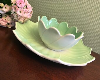 Vintage Lotus Plate and bowl set, Pastel Anchor Hocking dishes, Milk Glass Vitrock Fired on Jadeite green lotus bowl plate, gift for her