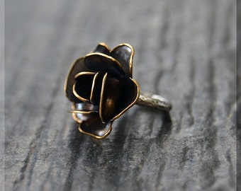 Sterling Silver and Brass European Style Rose Charm, Handmade Slide Charm, Personalized Flower Charm, Big Hole Bead, Rose Slider Charm