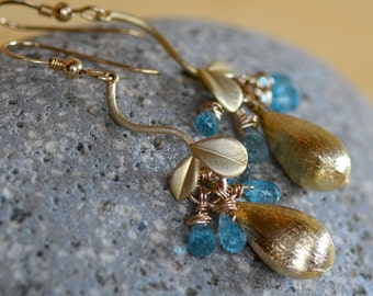 Gold Teardrop Earrings. Blue Apatite Earrings. Gemstone Earrings.  Wedding Bridal Earrings. Mixed Metal.  Gift for Her.