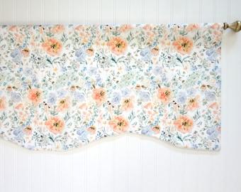 Watercolor Floral Window Valance, Designer Fabric, Floral Valance, Watercolor Floral Fabric, Valance, Window Treatment