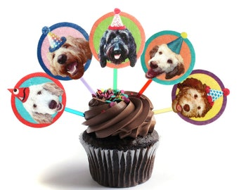 Labradoodle Dogs Cupcake Toppers - set of 6 - photo reproductions on felt - funny dog portraits birthday decor