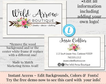 Arrow Business Card, Business Card, Watercolor Card Template, DIY Business Card, Instant Download Card, DIY Business Card