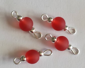 5 connectors 6mm Red frosted glass beads