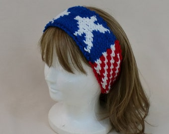 American Flag Headband, US Flag Hair Band, Patriotic Hair Tie, Veterans Day,  Red White Blue Stars Stripes, USA Hair Accessory