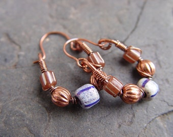 Handmade Copper Frames Trapeze Hoop Earrings with Indo Beads