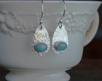 Tear Drop Earrings, Sterling Earrings, Silver Earrings, Amazonite Earrings, Blue Gemstone Earrings, Blue Earrings, Drop Earrings, Textured