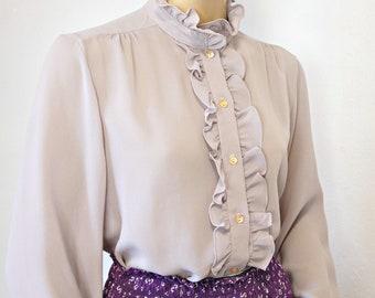 Vintage Ruffle Blouse Long Sleeve Secretary Feminine Romantic Size Medium