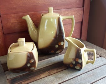 Vintage Beauceware Astral Pattern Tea Pot and Sugar Creamer Set / Vintage teapot Creamer sugar Astral 3389 Beauce pottery