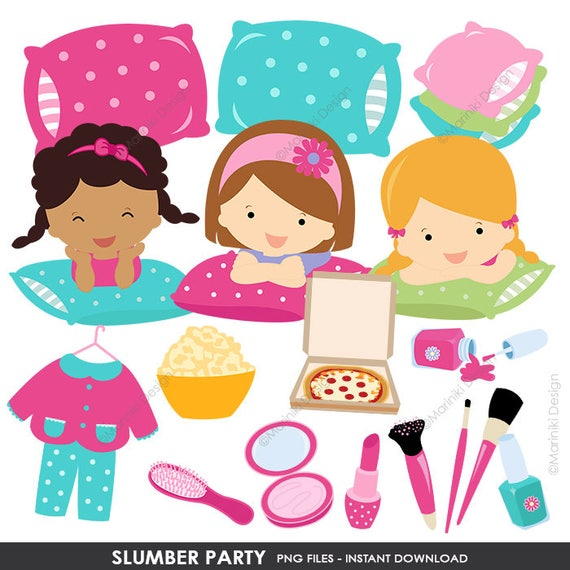 slumber party clipart pajamas party girl sleepover birthday party rh etsystudio com Clip Art Birthday Party sleepover party clipart
