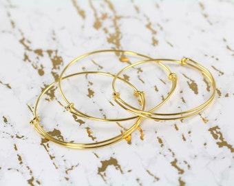 Gold Bangle Bracelet , 18k Gold Wholesale Bangles Bulk Adjustable Expandable up to 8 inches