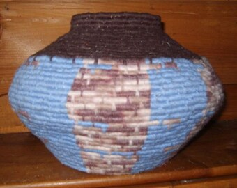 Striking Hand Woven Bowl With Native American Designs In Shades Of Blue & Brown Entitled 'Mother Earth'