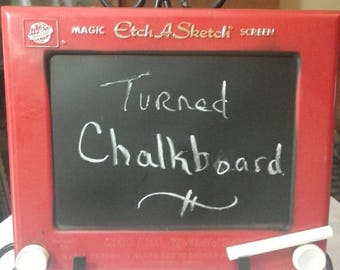 Etch a Sketch turned Chalkboard Message Board