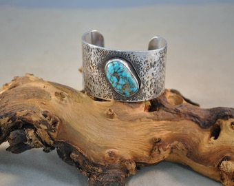 Sterling Silver Vintage Hammered Cuff with Turquoise