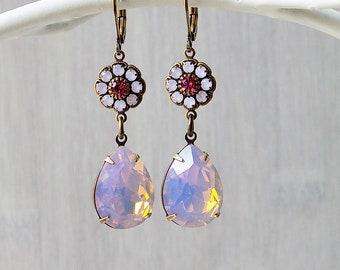 Opal earrings, Rosewater Opal, Shabby Pink, Gift Girl, Gift Woman, Estate Style, Vintage style, Rococco Earrings, Pink earrings, Rhinestone