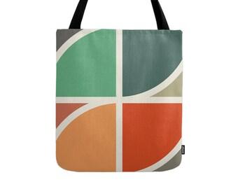 Geometric tote bag geometric bag pink tote bag geometric canvas tote summer tote bag summer bag mid-century tote bag mid-century bag