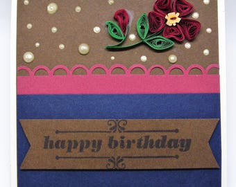 Quilled flower birthday greeting card with envelope