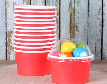 Small Red Ice Cream Cups with Lids, Christmas Candy Cups with Clear Domed Lids, Small Red Snack Cup, Cupcake Cups (4 oz - 18 ct)