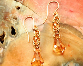 Earrings Golden Shadow Swarovski Raindrop Crystal Chainmaille Earrings