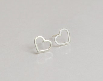 Heart Stud Earrings, Open Heart Earrings, Silver Heart Earrings, Minimalist Earrings, Dainty Heart Earrings, Dainty Stud Earrings For Her