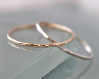 14k Solid Gold Two Interlocked Thin 1mm Skinny Hammered Rings, Puzzle, Russian Wedding, Rolling, Yellow, Rose or White Gold