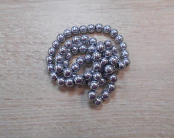 silver plated 6 mm hematite wire