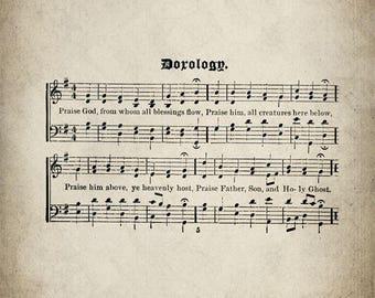 Doxology Hymn Print - Sheet Music Art - Hymn Art - Hymnal Sheet - Home Decor - Music Sheet - Print - #HYMN-P-018