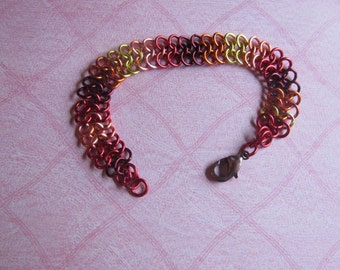 Chainmaille bracelet, European 4 in 1  Fall color Braclet