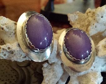 Sterling silver purple jasper earrings