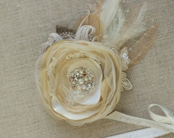 Wedding Headpiece, Wedding hair flower, Wedding hair piece, Bridal Hair Accessories, Bridal headpiece, Vintage hair clip, Burlap hairpiece