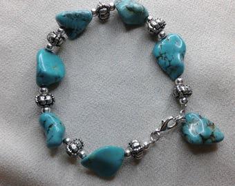 Magnesite turquoise Bead Bracelet baroque