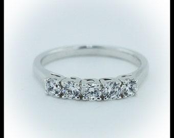Diamond Wedding Band 5 Stone Petite Embrace .50 ct Natural Diamond