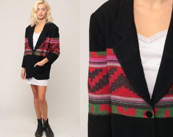 Southwestern Jacket Aztec Blazer Blanket Jacket Tribal WOOL BLEND 80s Boho Black Southwest Print Hippie Vintage Bohemian Medium